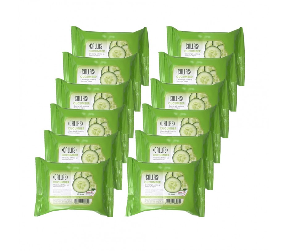 Callas Cleansing & Make-up Remover Wipes 30 Wipes (Cucumber, 12pcs)